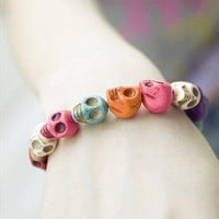 Mixed Colourful Skull Stretch Bracelet | littlebylittle | ASOS Marketplace
