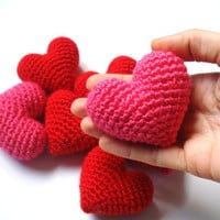 Pink Amigurumi Crochet Heart - Set of 2