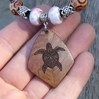 Custom Handmade Exotic Wood Pendant Necklace - Caribbean Rosewood