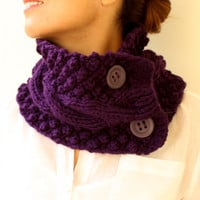 Winter  Fashion  Knit Cowl Plum Aubergine Purple by warmandsoft