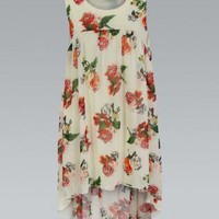 Cream Floral Dip Hem Sleeveless Tunic