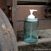 Century Old Blue Mason Jar Soap or Lotion Dispenser