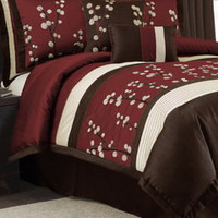 ideeli | TRIANGLE 8-Piece Red Cocoa Flower Comforter Set