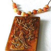 Hand Carved Nephrite Jade Phoenix on Both Sides Pendant on Hemp Cord