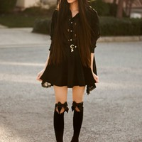 OASAP - U Shaped Cuff Jeweled Over The Knee Socks - Street Fashion Store