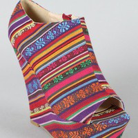 Shannon Tribal Print Peep Toe Wedge Bootie