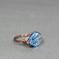 Wire Wrap Ring Aquamarine Swarovski Crystal Gifts by UrbanCorner