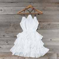Scattered Ruffles Dress in White, Sweet Women&#x27;s Country Clothing