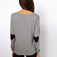 ASOS Boyfriend Jumper With Heart Elbow Patches
