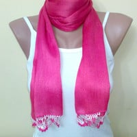Women accessories, cotton, soft scarf, fuchsia scarf, crochet, dark pink, spring, for 4 season,  women fashion 2012 trend, New Fashion