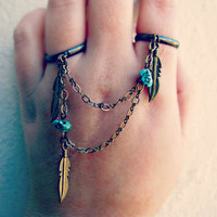 feather and turquoise double ring, slave ring, connected rings, chain rings, tribal ring, unique ring