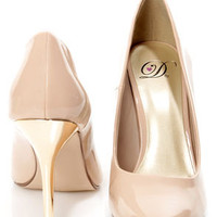 My Delicious Birdy Nude Patent and Gold Pointed Pumps