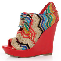 Mona Mia Lori Red Multi Rainbow Peekaboo Peep Toe Wedges - &amp;#36;46.00