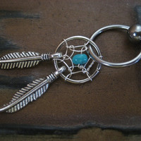 Dream Catcher Captive Hoop Turquoise Stone 14 16 G 14g 16g Gauge Belly Button Tribal Cartilage Ring Helix Ear Piercing Jewelry