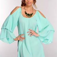 Mint Scoop Neck Long Sleeve Sexy Mini Party Dress