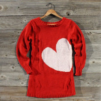 Threaded Hearts Sweater in Red, Sweet Country Women&#x27;s Clothing