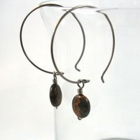 Niobium Hoop Earrings with African Copper Green Opal Dangles 1.5 inch