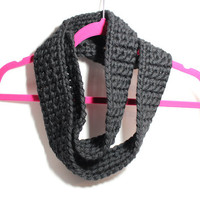 Black cowl scarf, Women's Wool Crocheted cowl, Black Infinity Scarf
