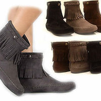 Women's Flat Heel Fringe Moccasin Round Toe Ankle Bootie Shoes Black Grey Brown