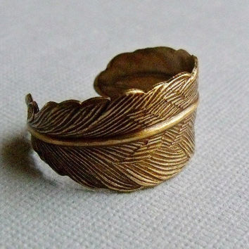 Feather Wrap Ring by pinkingedgedesigns on Etsy