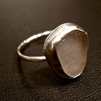 Handmade Grey Sea Glass Ring Size 7 by OddsAndEndsByKaley on Etsy