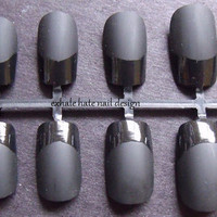 Matte/Flat Black with Gloss Tips False Nail Set