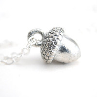 Silver Acorn Necklace.