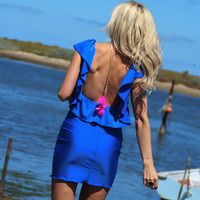 COBALT ROYAL BLUE Low Open Back Ruffle Mini Dress By by JustynaG