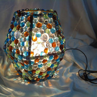 Table lamp colorful glass beaded light by ATXLightsAndCrafts