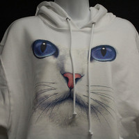 White Hoodie with cat face Comfortable pull over by PassTheWord