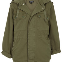 Khaki Hooded Army Jacket - Jackets &amp; Coats - Clothing - Topshop