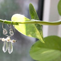 Clear Glass Dagger and White Pearl Earrings. Sterling Silver Wire Wrapped Spiral, Simple Minimalist Handmade Gift