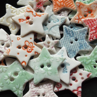 Handmade Porcelain Ceramic Star Buttons - Set of 5