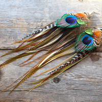 Feather Earrings  Peacock  Long Feather Earrings by xVELVETx