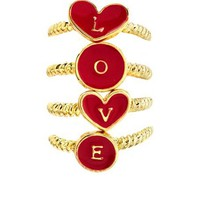 """L.O.V.E."" Stackable Ring Set: Charlotte Russe"