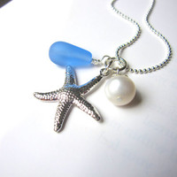 Baby Blue seaglass necklace with starfish &amp; swarovski pearl - Bridesmaids Necklace in Beach or Destination Wedding FREE SHIPPING