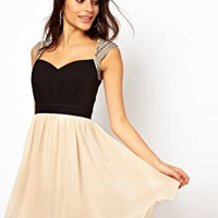 Little Mistress Embellished Shoulder Prom Dress at asos.com