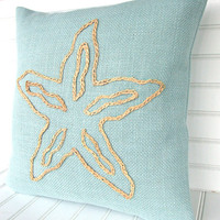 Turquoise Designer Fabric pillow with Starfish for your coastal living beach house