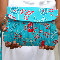Blue and Fuchsia Clutch - Floral Clutch fuchsia and Blue