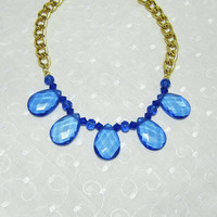 Monaco and Royal Blue Teardrop Statement Necklace on Gold Big Links Chain