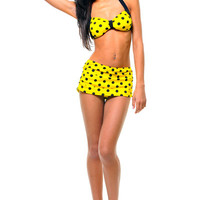 Vintage Inspired 50's Style Pin Up Yellow & Black Polka Dot Bikini - Unique Vintage - Prom dresses, retro dresses, retro swimsuits.