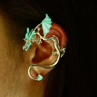 "Ear cuff DRAGON that ""GLOWS in the DARK"" Cuff Wrap (Maggie's boutique)"