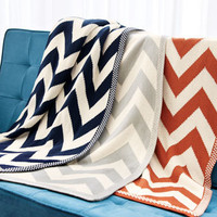 Chevron-Patterned Knit Throw - Horchow