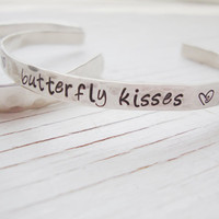 Butterfly kisses silver hand stamped hammered cuff with heart