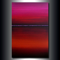 Abstract Horizon Painting With Magenta and Orange Ombre Sunset Colours 24 x 36 Acrylic