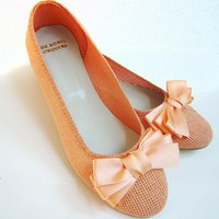 Panama Peach handmade summer ballet flats from by DeBonisOrquera