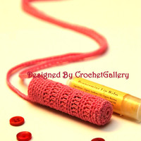 Crocheted Necklace Lipbalm Lipstick Holder Lipbalm Pouch Chapstick Purse