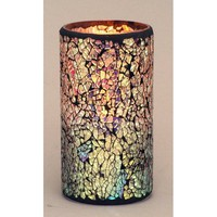 "LED Mosaic Flameless Candle, Cracked Glass Pattern, 3""D x 6""H"