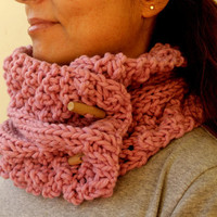 Sugar Pink Knit Cable Chunky Cowl Scarf Neckwarmer by warmandsoft