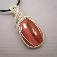 Wire Wrapped Pendant Willow Creek Jasper Cabochon by UptightWanda
